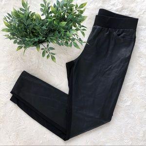 Boston Proper black faux leather ponte leggings